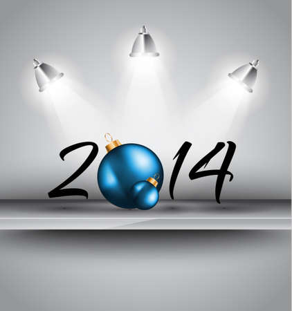 2014 Christmas and New Year Colorful Background with a waterfall of ray lights and a lot of baubles and stars. Vector