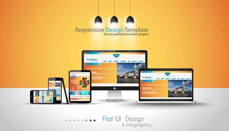 Les dispositifs modernes maquettes FPR vos projets d'affaires. webtemplates inclus. Illustration