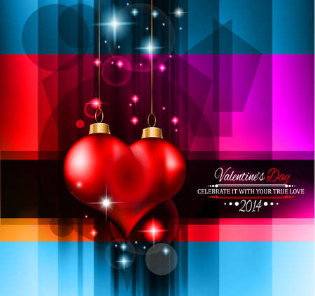 Valentine's Day template with stunning hearts and colors for your flyer backgrounds. Stock Vector - 25548073
