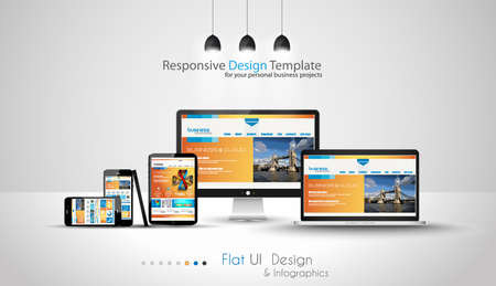 web layout: Modern devices mockups fpr your business projects. webtemplates included.