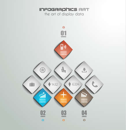 ranking: Infographic design template with paper tags. Idea to display information, ranking and statistics with orginal and modern style.