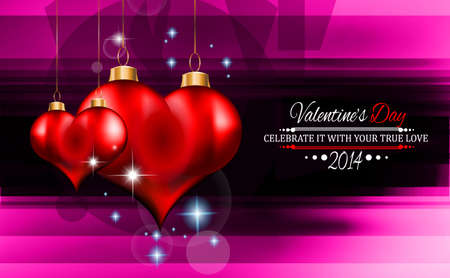 Valentine's Day template with stunning hearts and colors for your flyer backgrounds. Stock Vector - 25549462
