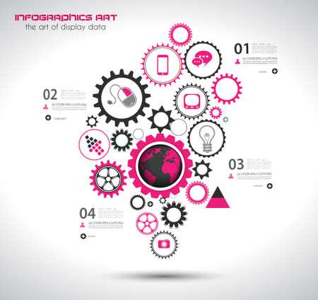 estadisticas: Plantilla de dise�o Infograf�a con la cadena de engranajes. Ideal para mostrar informaci�n, clasificaci�n y estad�sticas con un estilo original y moderno.
