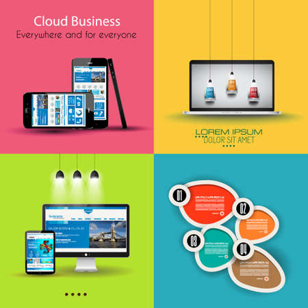 Flat Design Interface template for infogrphics, social media concept, devices mockups and so on. Vector