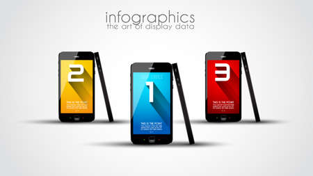 Original Style info graphic template with touchscreen phones. Vector