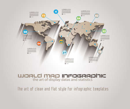 World Map Infographic Template to display your global data. Vector