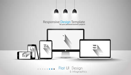 computer banner: Modern devices mockups fpr your business projects. webtemplates included.