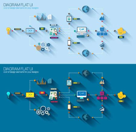 フラット スタイルのダイアグラム、インフォ グラフィック UI アイコン マーケティング プロモーション、モバイル広告、調査や分析、ビジネス プ