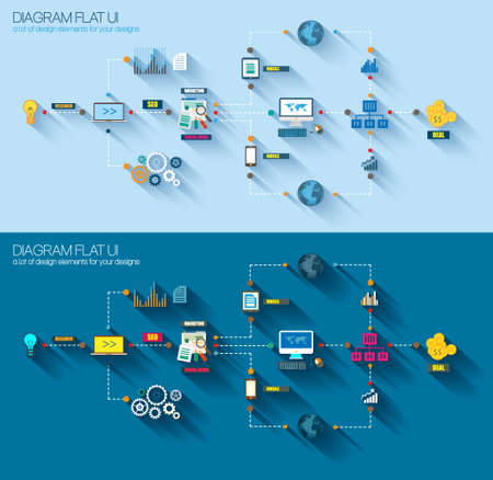computer network diagram: Flat Style Diagram, Infographic and UI Icons to use for your business project, marketing promotion, mobile advertising, research and analytics.