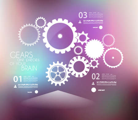 webtemplate: Infographic design template with gears. Idea to display information, ranking and statistics with original and modern style. Illustration