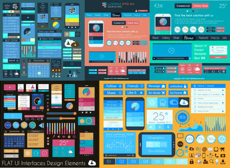 interface elements: Flat UI Mega Collection: Icons, web forms, Headers, Footers, Smartphones, Computers, tablet, web template, business, infographics and so on.