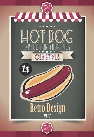 voedingsmiddelen: Vintage HOT DOG poster sjabloon voor restaurant en straat eten verkopers. Water Drops en inkt druppels zijn gemakkelijk verwijderbaar.