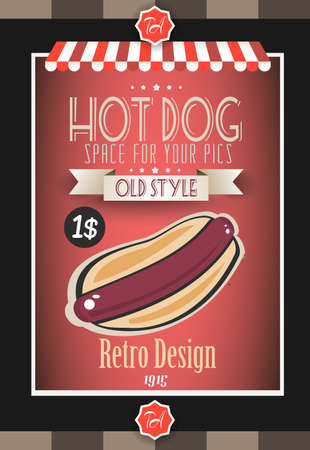 hot dog label: Vintage HOT DOG poster template for restaurant and street food sellers. Water Drops and ink drops are easy removable. Illustration