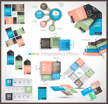 Timeline and  Infographics design templates with paper tags. Idea to display information, ranking and statistics with orginal and modern style. Vector