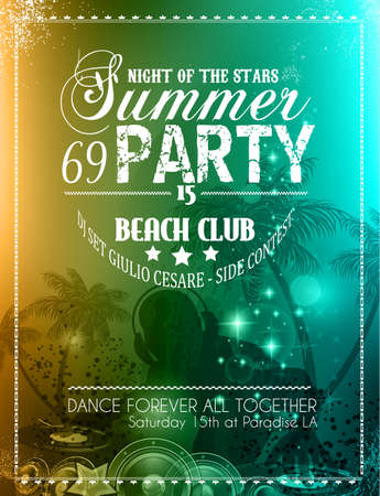 Summer Party Flyer for Music Club events for latin dance. Vector
