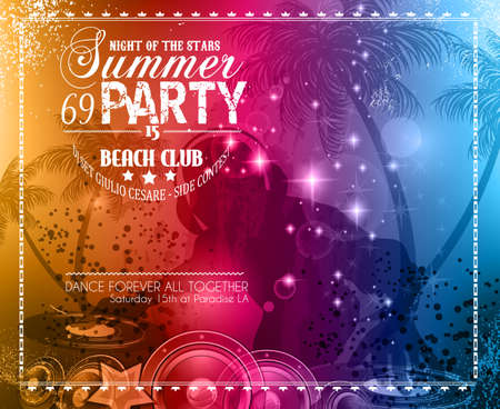 party club: Summer Party Flyer for Music Club events for latin dance.