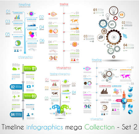 Timeline Infographic design templates Set 2.  With paper tags. Idea to display information, ranking and statistics with orginal and modern style.