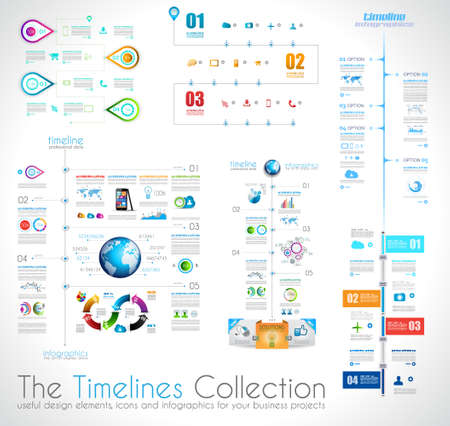 Timeline Infographic design template with paper tags. Idea to display information, ranking and statistics with orginal and modern style. Vector