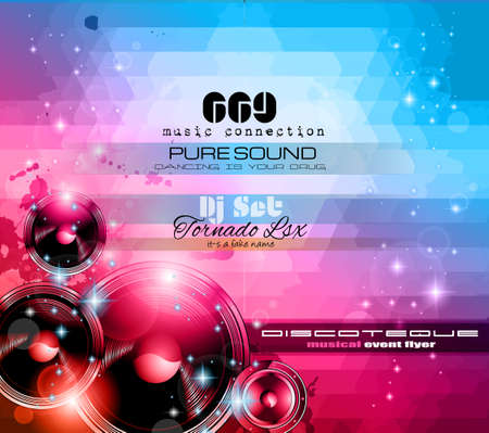 dj: Music Themed background to use for Disco Club Flyers with a lot of abstract design elements, high contrast colors and space for text