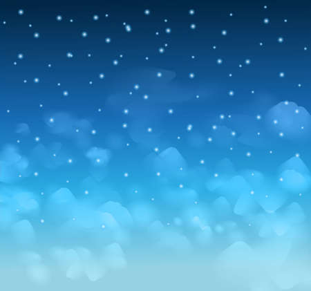 A magical Nigh Blue sky with stars and delecate clouds. Idea for Chsritmas background and festive posters. Stock Vector - 28525565