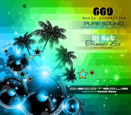 club flyer: Music Themed background to use for Disco Club Flyers with a lot of abstract design elements, high contrast colors and space for text