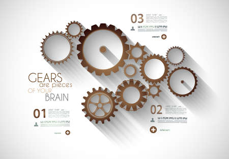 mechaninc: Infographic timeline with Gear mechanic concept for product or generic items classification.