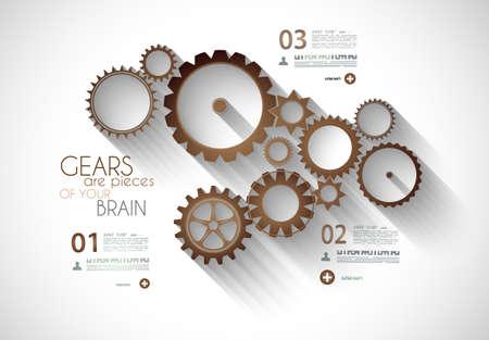 clasificacion: L�nea de tiempo Infograf�a con concepto mec�nico de engranajes para el producto o los elementos gen�ricos de clasificaci�n.