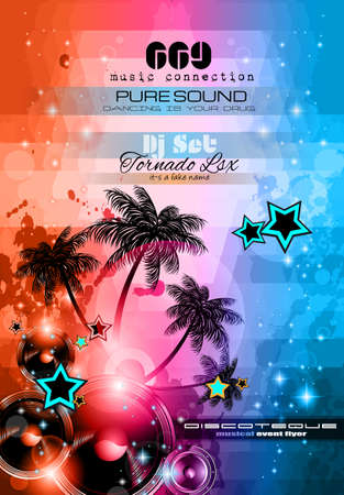 Music Themed background to use for Disco Club Flyers with a lot of abstract design elements, high contrast colors and space for text Vector