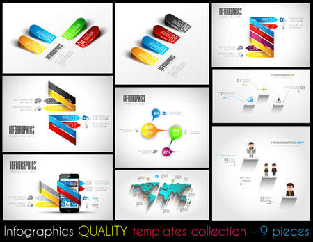 analisys: Collection of 9 quality Infographic Templates. A lot of different templates ready to display your data.