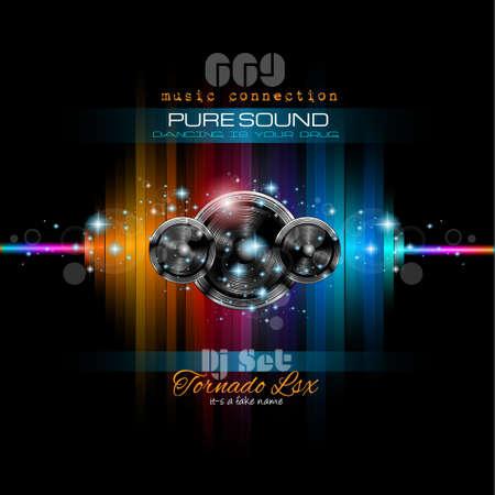 Fondo de la música temática que se utilizará para Disco Club Flyers con un montón de elementos de diseño abstracto, colores de alto contraste y el espacio para el texto