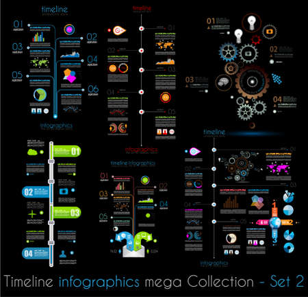 Timeline Infographic design templates Set 2 Black Background.  With paper tags. Idea to display information, ranking and statistics with orginal and modern style. Vector