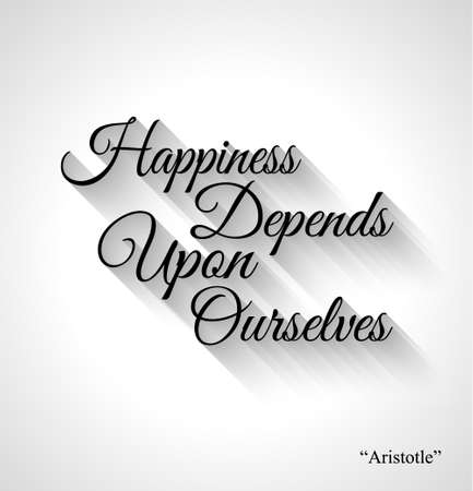 depends: Inspirational Typo Text with Retro Style and shadows. Happiness depends upon ourselves Illustration