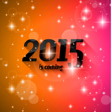 Modern Style 2015 New Year is coming background with blend shadow. Ready to copy and paste on every surface. Illustration