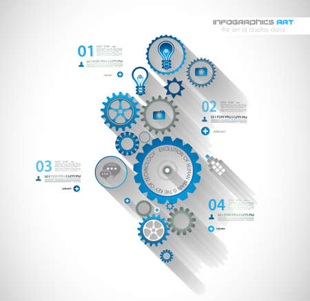 Infographic timeline with Gear mechanic concept for product or generic items classification. Vector