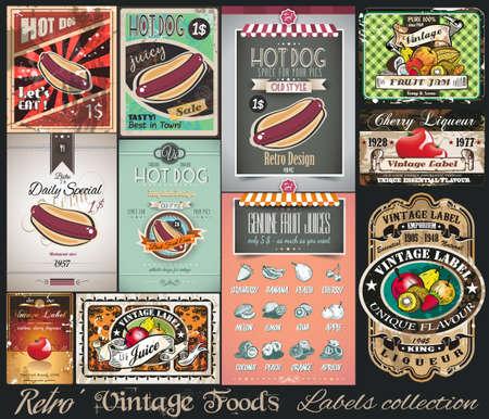 voedingsmiddelen: Retro Vintage Foods Labels collectie. Kleine affiches, label en restaurant menu graphics voor uw projecten.