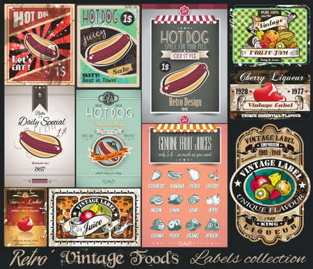 food backgrounds: Retro Vintage Foods Labels collection. Small posters, label and restaurant menu graphics for your projects. Illustration