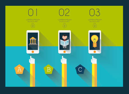 Flat UI design concepts for unique infographics, seo, web template branding.  Vector