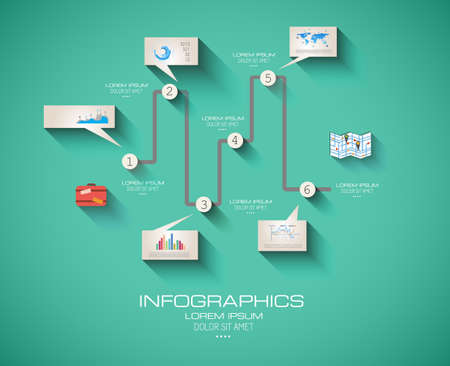Modern Infographic template with Flat UI style. Timeline virtual rapresentation to use for data ranking of product classification. Vector