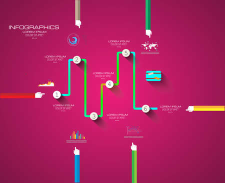 Flat UI design concepts for unique infographics, seo, web template branding. Concepts e�ements for web banners and brochure or covers. Vector
