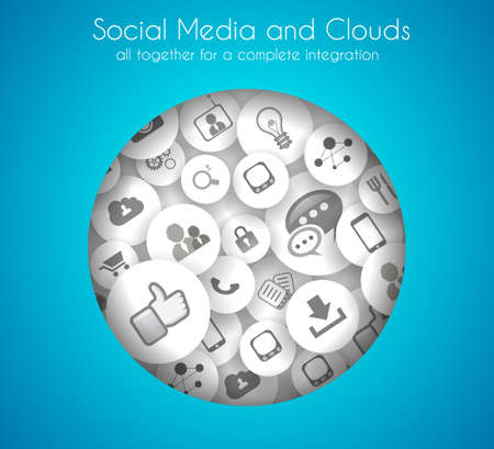 Social Media and Cloud concept background with a lot of icons for seo, advertising banners, cover materials or branding brochures Vector