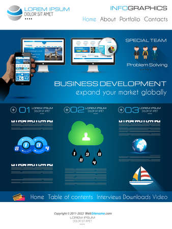 web sites: Attractive Modern Web Template with flat UI elements. Ideal for Business layout and high tech sites