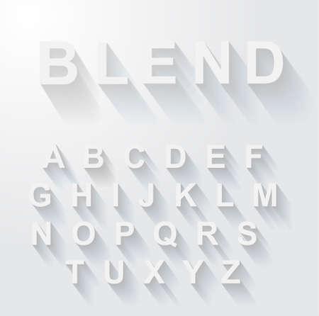 現代の長い影の効果を持つ古典的なアルファベット。影はブレンドと透明度コピーすることができますので、すべての背景にペーストで作られてい