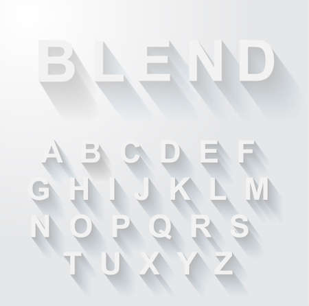 Classic alphabet with modern long shadow effect. Shadows has been made with blend and transparency so can be copied and paste on every background. Vector