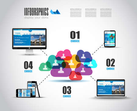 Modern Cloud Globals Services concept background for social media advertising and communications with real devices mockup. Illustration