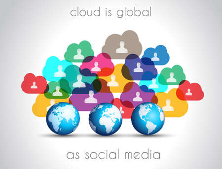 Modern Cloud Globals infographic concept background for social media advertising and communications with real devices mockup. Vector