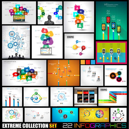 Collection of 22 Infographics for social media and clouds. Flat style UI design elements for your business projects, seo diagrams and solution ranking presentazions Vector
