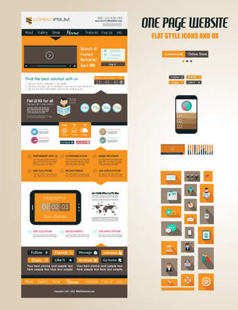One page website flat UI design template. It include a lot of flat stlyle icons, forms, header, footeer, menu, banner and spaces for pictures and icons all in one page. Vector
