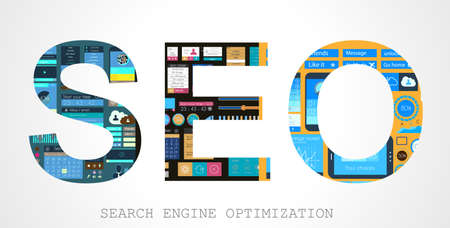 SEO Search engine optimization concept with Flat design and a lot of icons behind. Vector