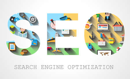 SEO Search engine optimization concept with Flat design and a lot of icons behind. Stock Vector - 29229772