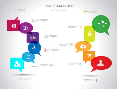Social Media and Cloud concept Infographic background with a lot of icons for seo, advertising banners, cover materials or branding brochures Vector